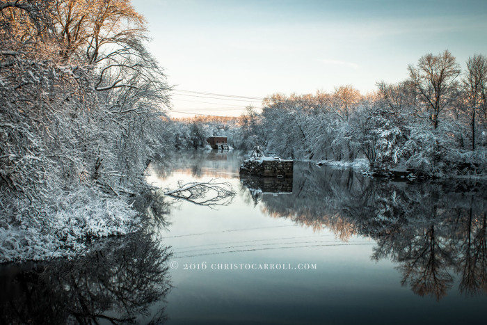 Snow Covered Stone Island on the Concord River